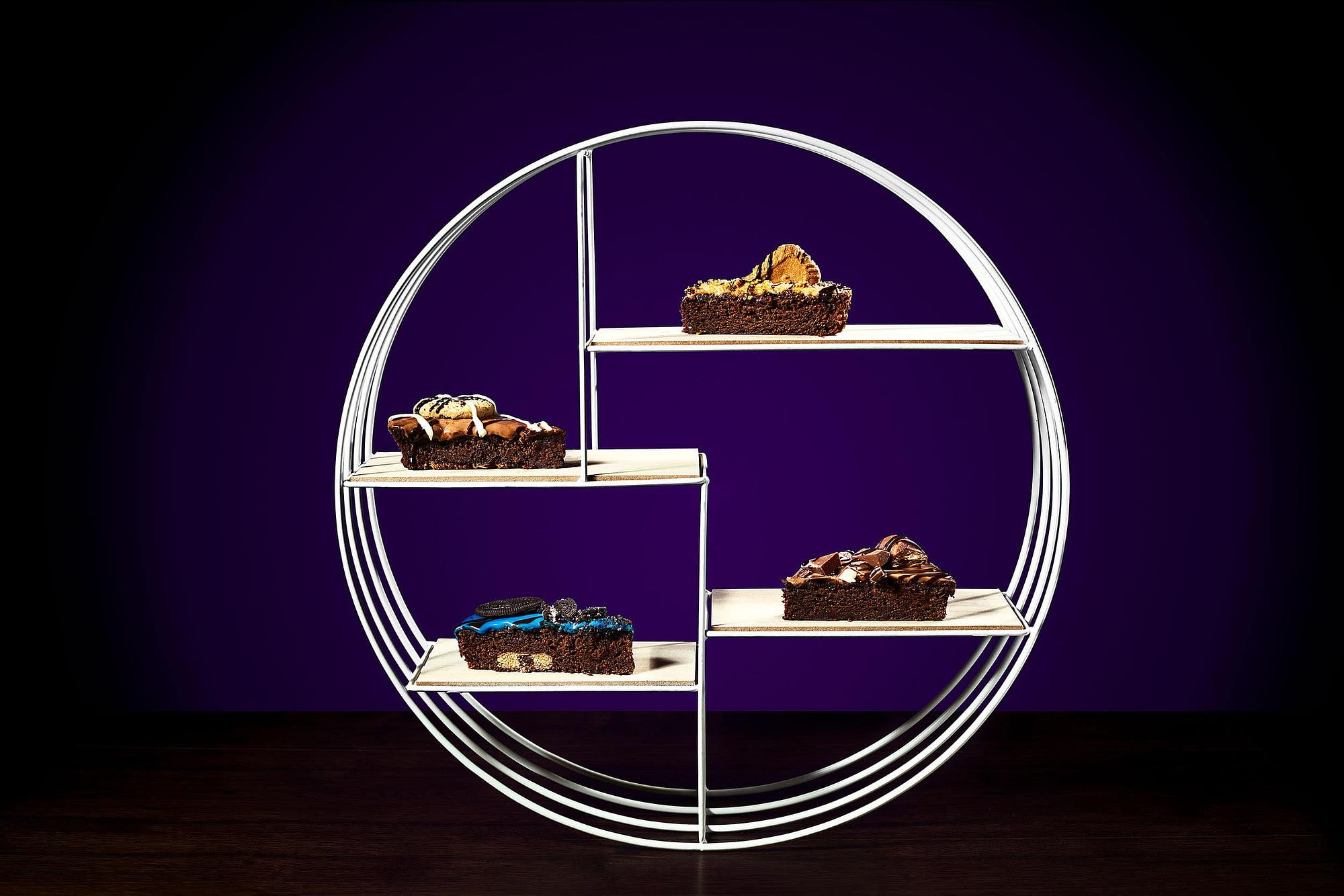 Brownies on Purple Background