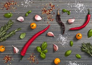 Background of chilis and herbs